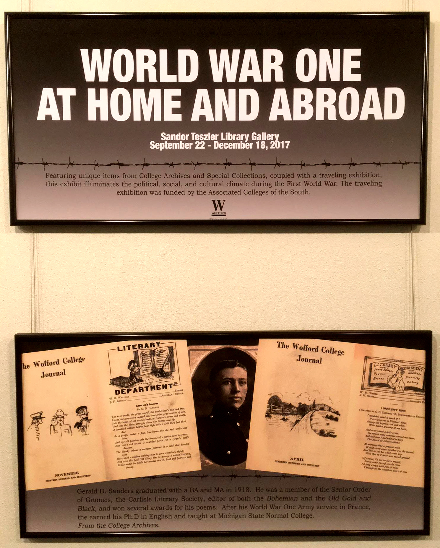 World War One: At Home and Abroad exhibit title and Gerald Sanders panels